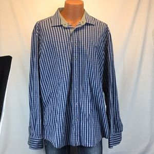 Bugatchi Shaped Fit Long Sleeve Button Down Cotton